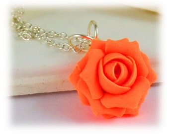 Dainty Neon Orange Rose Necklace - Fluorescent Orange Jewelry