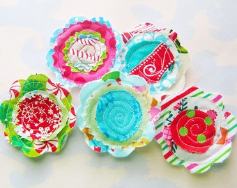 Sewn Fabric Holiday Flowers Embellishment Set of Five