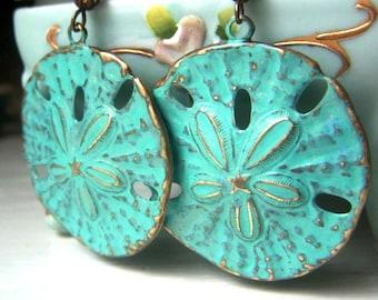 Sand Dollar Earrings, Teal Patina Earrings, Mint Aqua Earrings Hand Patina Brass, Large Sand Dollar, Beach Jewelry, Ocean Jewelry
