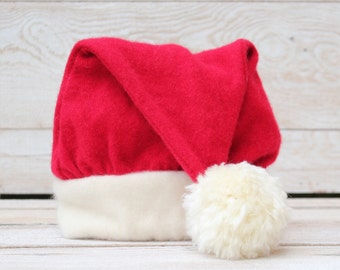 Infant Cashmere Santa Hat  Red Stocking Cap for Baby