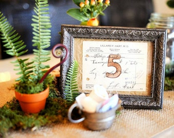 Vintage Wedding Reception or Event Table Numbers