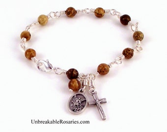 Rosary Bracelet St Michael In Wire Wrapped Brown Picture Jasper by Unbreakable Rosaries
