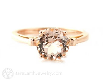 Rose Gold Morganite Ring Custom Gemstone Ring 14K or 18K White Yellow Rose Gold Fleur de Lis