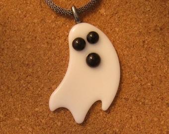 Fused Glass Ghost Pendant - Halloween Pendant - Ghost Pendant - Halloween Jewelry - Ghost Jewelry - Fused Glass Jewelry