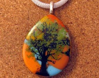 Fused Glass Tree Pendant - Image Pendant - Fused Glass Jewelry - Glass Pendant - Decal Jewelry