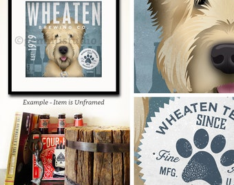 Wheaten Terrier dog brewing beer company illustration signed giclee print by stephen fowler