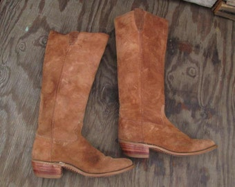 Tall Suede Vintage Cowboy Boots Brown Suede 70s Vintage Western Knee High Cowboy boots Stacked Leather Heel 7 M