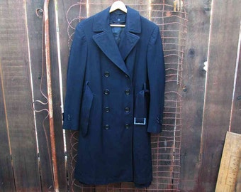 WWII Military Navy trench Coat Vintage uniform Overcoat navy buttons 40s Navy Wool Sailor Coat Like James Dean 40