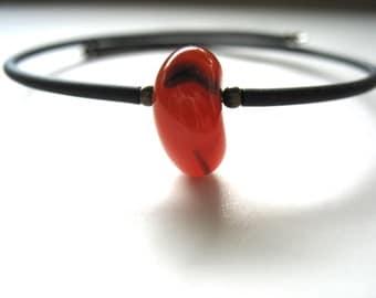 Agate, Orange Agate, Gemstone Cuff Bracelet, Handmade Artisan Jewelry, Agate Jewelry