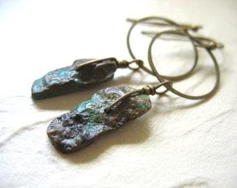 Turquoise Earrings, Turquoise Stone Hoop Dangle Drop Earrings, Turquoise Handmade Metalwork Artisan Earrings Jewelry