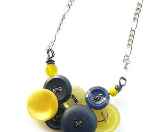 Christmas in July Sale Little Yellow and Navy Blue Vintage Button Necklace -Team Colors