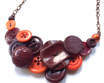 Orange and Brown Vintage Button Necklace - Recycled Upcycled Repurposed