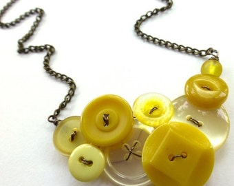 Gift Sale Lovely Pale and Mustard Yellow Vintage Button Statement Necklace