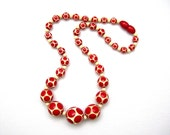 Art Deco Galalith Beads Necklace, 1930s, Gorgeous Cherry Red Dots on Cream, 17 Inch Spectator Style Choker, Vintage Jewelry, Carved Beads