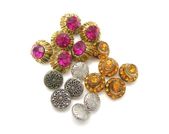 17 Gorgeous Vintage Buttons Lot: 6 Pink Rhinestones, 5 Amber Glass & Rhinestones, 3 Glass, 3 Silver Mirror Back, Collect Sewing Crafting