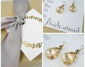 Gold bridesmaid earrings, thank you card, bridesmaid card, champagne earrings, bridesmaid gift set, 3 pairs, Swarovski crystal gold earrings