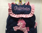Toddler Girl UNICORN Backpack CUSTOM HANDMADE with Unicorn Applique Choose Your Fabrics for the Applique and Trim Personalization included