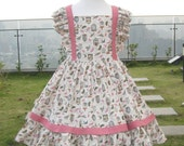 Birdcage Pink Girl Dress, Girl Pink Dress, Vintage Style Girl Pink Dress, Little Girl Pink Birthday Dress, Country Style Girl Pink Dress