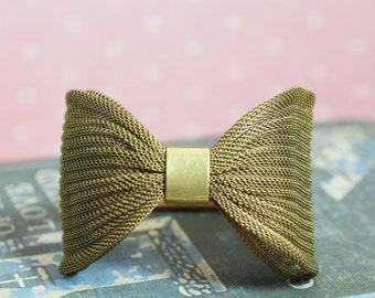 Brass mesh bow bracelet vintage