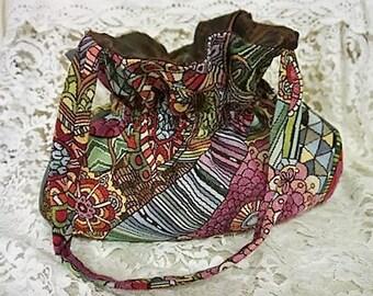 Retro  Multi Colour Handbag with Cinch Waist - Burgundy Silk Lining - Handmade - Original