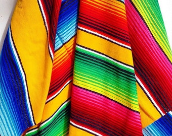 Rainbow of Colors... Vintage Mexican Ethnic Saltillo Blanket Throw Rug Colorful Rainbow Stripes