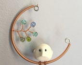 Cool Spring Greens Bird in the Moon-- Birds and Beads Mobilette