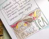 Strawberry Lemonade Sun Tea Illustrated Recipe Print PDF Digital Download