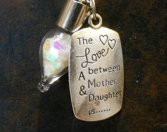 MOTHER DAUGHTER Charm with Blown Glass Wish Vial Sterling Necklace Nc2338, Teardrop Glass Vial, by Lynn