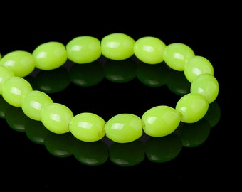 50 8mm x 6mm Bright Neon Fluorescent Yellow Loose Oval Glass Beads