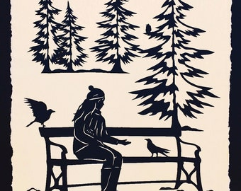 Sale 20% Off // WINTER AFTERNOON Papercut - Hand-Cut Silhouette // Coupon Code SALE20