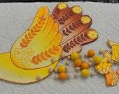 Hand Made in Bolivia Orange Yellow Bird Wind Chimes