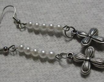Simulated Pearl Silver Tone Cross Dangle Pierced Earrings