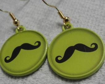 Mustache Green Round Dangle Pierced Earrings