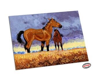 Horse Art Horse Art Print Buckskin Mustang Bay Foal Art Wild Horse ACEO horse print horse lover ACEO equine art by Denise Every