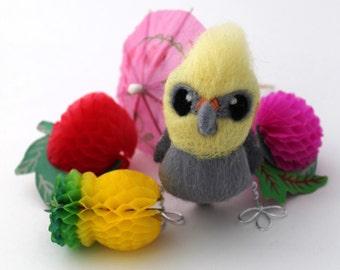 Needle Felted Mini Cockatiel Pet Bird, Felt Bird Ornament