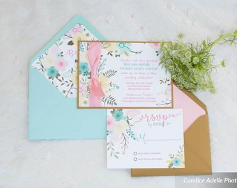 Wedding Invitation - Spring Floral - SAMPLE Staccato Signature Collection