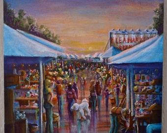 "SALE....12""x12"" acrylic on canvas. ""Morning at the flea market"""