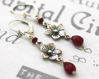 Silver Flower and Ruby Gemstone Handmade Flower Earrings, Ruby Dangle Sterling Silver Earrings, Ruby Birthstone Silver Flower Earrings
