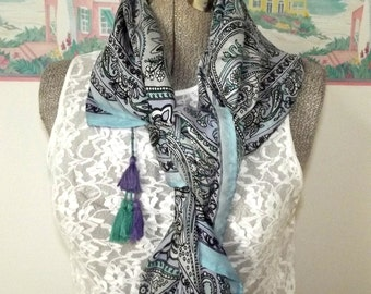 Vintage Silk Scarf, Square, Shawl, Blue, Lavender, Turquoise, Stain Glass Window, Tassels