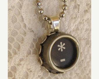 CIJ SALE Vintage Typewriter Key Necklace, Asterisk