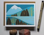 Blank Greeting Card, Landscape Art Card, Winter Landscape, Winter Blank Card, Nature Inspired, Note Card, Xmas Card, Gift for Mountain Lover