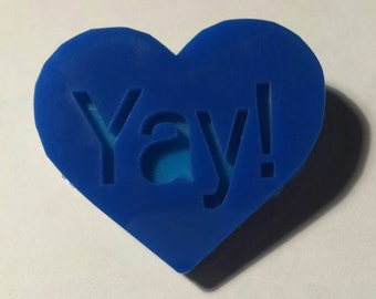 Yay! Heart Shaped Acrylic Pin/Brooch layered in Dark Blue and Light Blue. Laser Cut. Christmas Gift Stocking Filler.