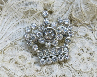 Vintage Crown Brooch, Petite ... Clear Rhinestone Crown Pin