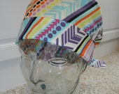 Tie Back Surgical Scrub Hat with Diagonal Stripes Dots