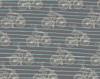 SALE Bicycle fabric, Cherie fabric, Gray fabric by Frances Newcomb for Art Gallery Fabric- Bon Voyage Nior- Choose Your Cut