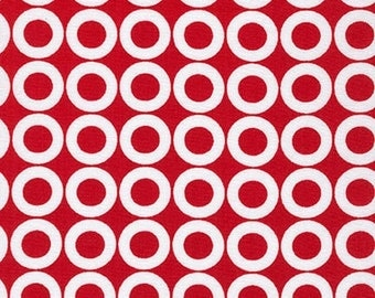 Spot On fabric, Red fabric, Polka Dot fabric, Red and White, Robert Kaufman, Spot On Donuts in Red, Choose the Cut