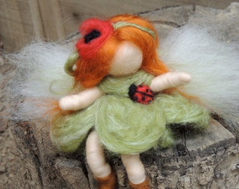 Wee Ladybug Bendy Fairy -   Needle felted soft sculpture - Waldorf Inspired by Rebecca Varon