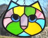 Bright Springtime Calico Stained Glass Kitty Cat Face Suncatcher