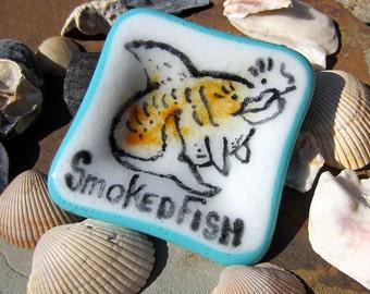 Fused Glass Trinket Dish Smoked Fish Handpainted Whimsical Animal Art