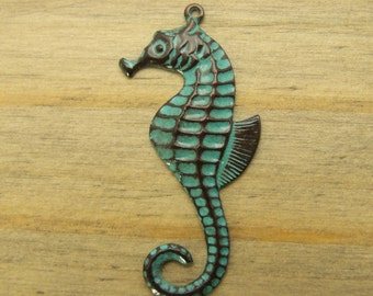 Seahorse Charm - 1 pc - Aged Sky Patina - Nautical Charms - Beach Charms - Patina Queen
